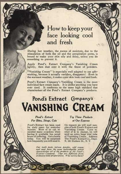 Pond's Extract Co.'s Pond's Vanishing Cream – How to keep you face looking cool and fresh (1911)