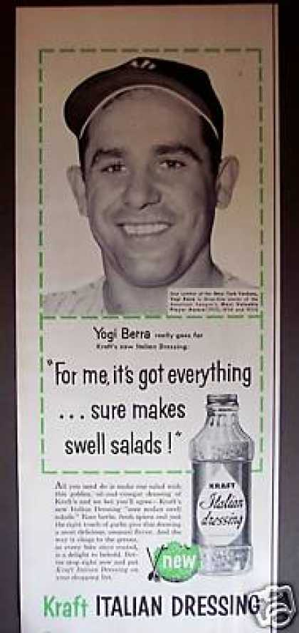 Yogi Berra Photo Kraft Italian Dressing (1956)