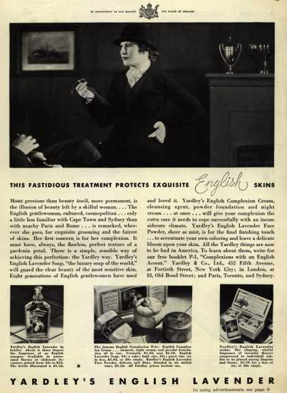 Yardley & Co., Ltd.'s English Lavender Cosmetics – This Fastidious Treatment Protects Exquisite English Skins (1932)