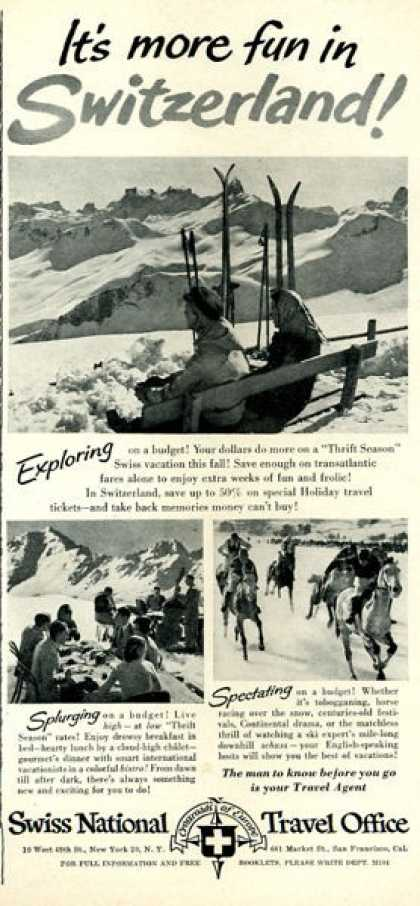 Swiss National Travel Snow Ski Lift (1951)