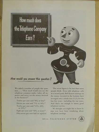 Bell Telephone Co. How much does the telephone company earn? (1947)