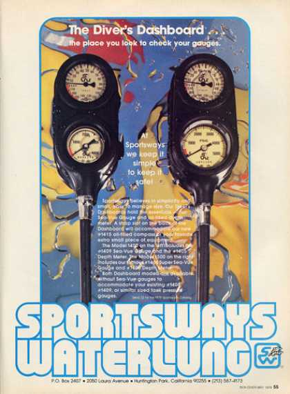 Sportsways Waterlung Scuba Dive Depth Master Ad T (1979)