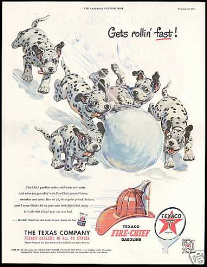 Dalmatian Dog Puppies Snowball Texaco (1952)