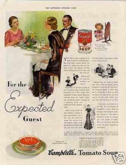 "Campbell's Tomato Soup Ad ""For the Expected... (1935)"