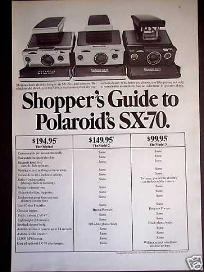 Polaroid Sx-70 Land Camera Shoppers Guide (1975)