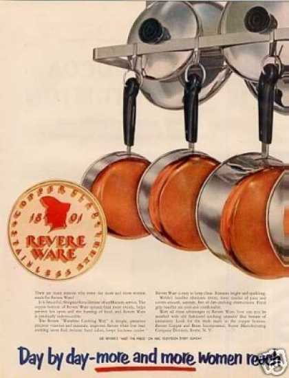 Revere Ware Copper Bottom Pots & Pans Ad 2 Page (1952)