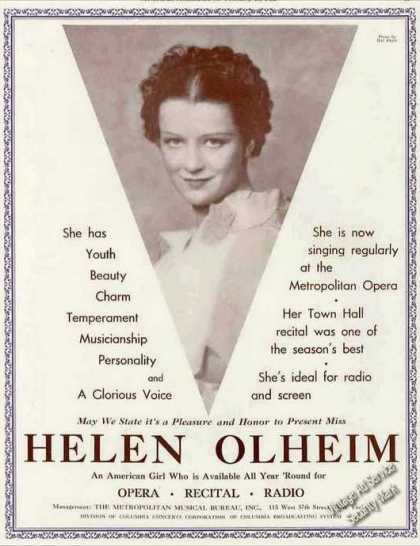 Helen Olheim Photo Opera Recital Radio Booking (1936)