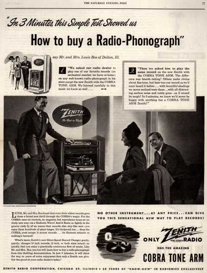 "Zenith Radio Corporation's Radio-Phonograph – ""In 3 Minutes this Simple Test Showed us How to buy a Radio-Phonograph (1947)"