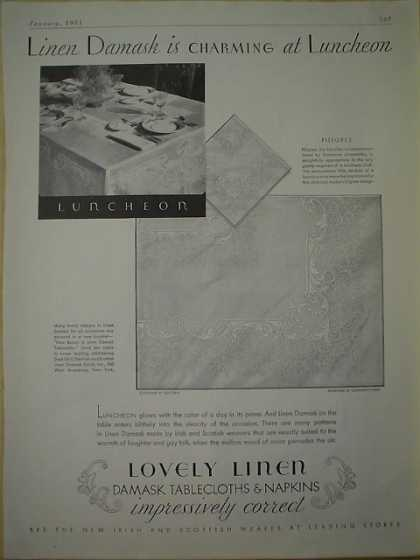 Linen Damask Tableclothes and Napkins Lovely Linen (1931)