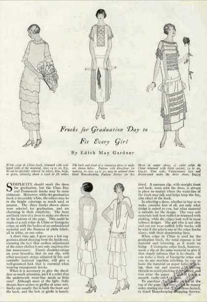 Graduation Fashion Print Drawings and Article (1924)