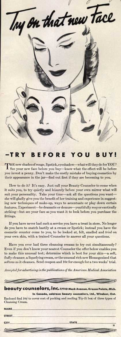 Beauty Counselor's Cosmetics – Try on that new Face (1941)