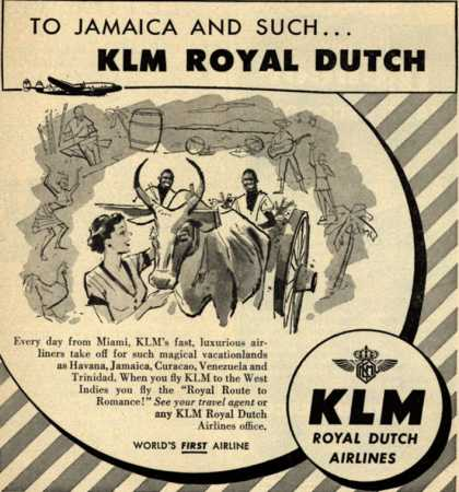KLM Royal Dutch Airline's West Indies – To Jamaica And Such... KLM Royal Dutch (1952)