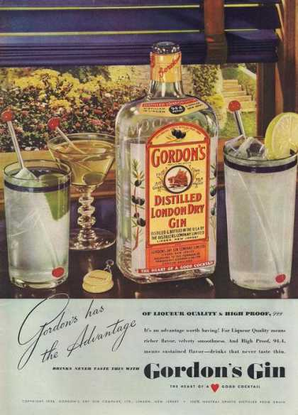 Gordons Distilled London Dry Gin (1938)