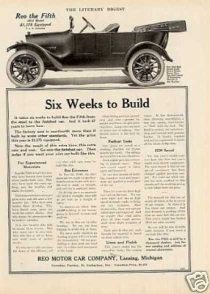 "Reo Car Ad ""Six Weeks To Build... (1914)"