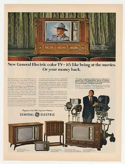 GE General Electric Color TV John Wayne Photo (1969)