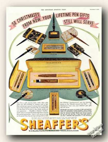 Sheaffer's Pen Sets (12) Christmas Gift (1937)