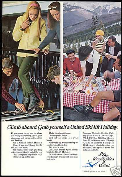United Airlines Ski Lift Holiday Western Skiing (1968)