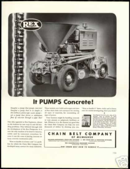 Rex Pumpcrete Machine Concrete Chain Belt Co (1940)