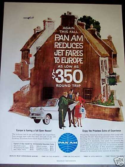 Pan Am Airline Jet Fares To Europe Art (1961)