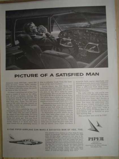 Piper Aircraft. Plane. Picture of a satisfied man (1963)