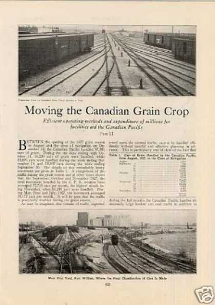 """Moving the Canadian Grain Crop"" Article/cpr (1928)"