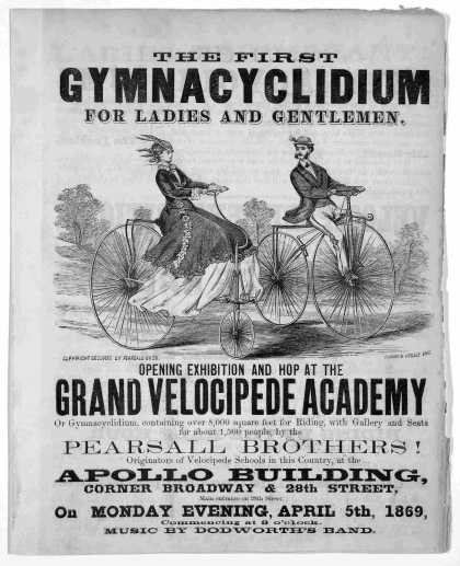 The first gymnacyclidium for ladies and gentlemen : opening exhibition and hop at the grand velocipede academy, or gymnacyclidium, containing over 8,0 (1869)