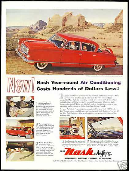 Red Nash Airflyte 4 Door Ambassador Car (1954)