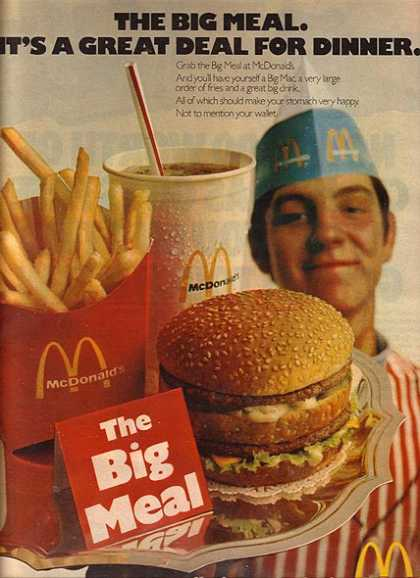 McDonald's Big Mac, a very large order of fries and a great big drink (1971)