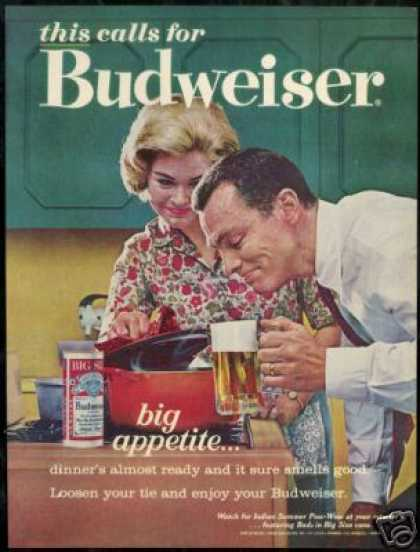 Budweiser Beer Big Appetite Vintage Photo (1963)