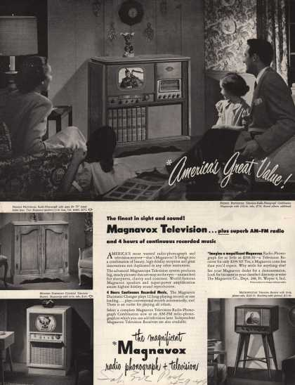 Magnavox Company's Radio-Phonograph + Television – The finest in sight and sound (1949)
