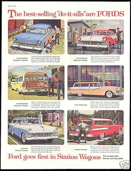 Ford Assorted Station Wagon Vintage Print Car (1956)