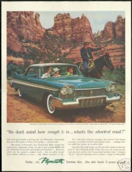 Plymouth Green 4 Dr Car Cowboy Horse Photo (1957)