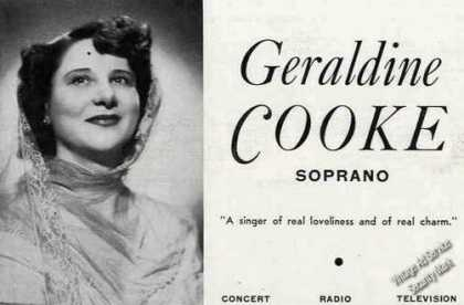 Geraldine Cooke Photo Concert Radio Tv Booking (1949)