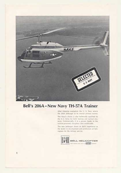 '68 Bell 206A JetRanger Navy TH-57A Helicopter Photo (1968)