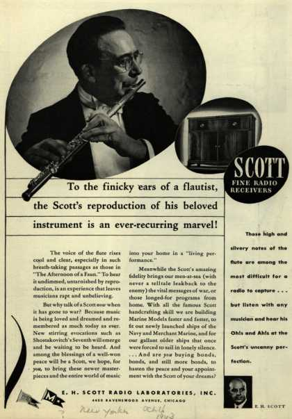E. H. Scott Radio Laboratorie's Radio – To the finicky ears of a flautist, the Scott's reproduction of his beloved instrument is an ever-recurring marvel (1943)