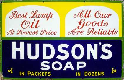 Hudson's Soap & Lamp Oil Sign