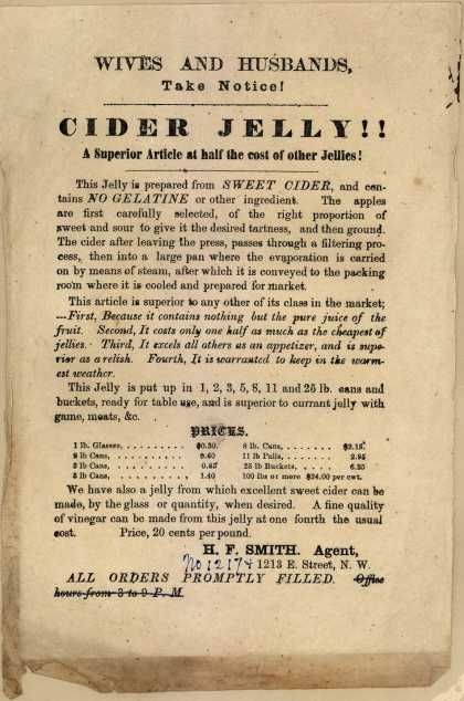 H. F. Smith, Agent's Cider Jelly – Wives and Husbands, Take Notice