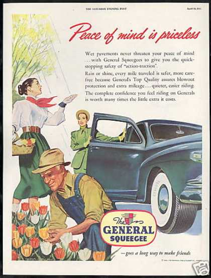 Tulip Flowers General Squeegee Car Tire Vintage (1948)