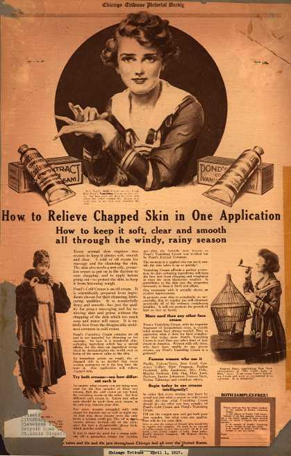 Pond's Extract Co.'s Pond's Cold Cream and Vanishing Cream – How to Relieve Chapped Skin in One Application (1917)