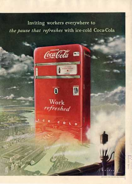 Coca Cola Coke Machine Industrial Row Ad T (1949)