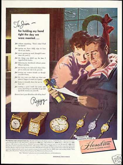 To Jim From Peggy Letter Hamilton Watch (1948)