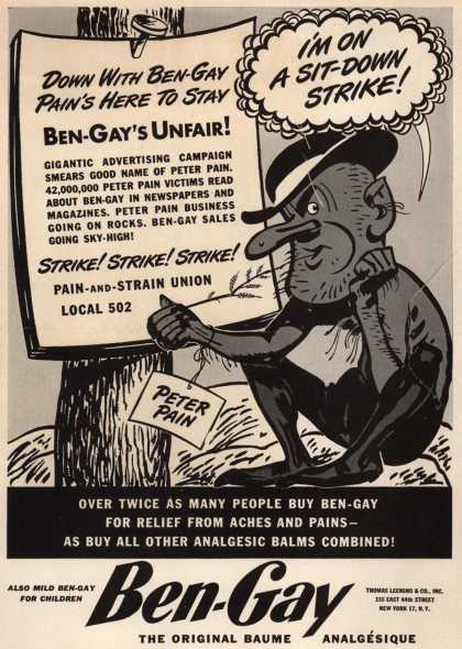 Thomas Leeming & Co.'s Ben-Gay – Down with Ben-gay Pain is here to stay (1946)
