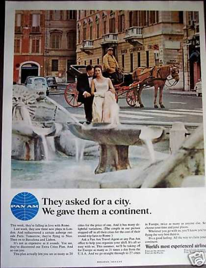 Rome Italy Horse Carriage Photo Pan Am Airline (1966)