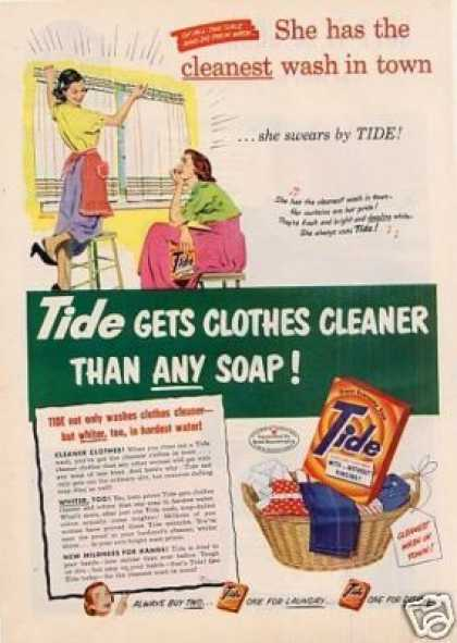 "Tide Soap Detergent Ad ""She Has the Cleanest... (1952)"