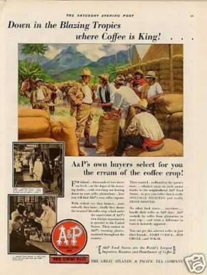 A&amp;p Color Ad &quot;Down In the Blazing Tropics... (1930)