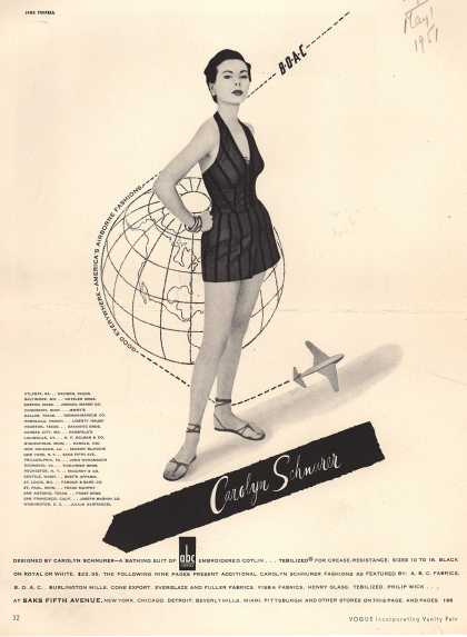 British Overseas Airways Corporation's Bathing Suit/Air Travel – Carolyn Schnurer (1951)