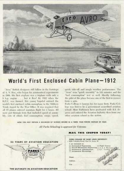 "Parks College Ad ""World's First (1912) Cabin Plane (1960)"