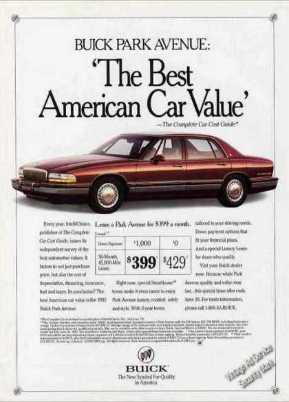"Buick Park Avenue ""The Best American Car Value"" (1992)"