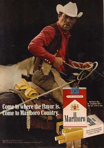 marlboro advertisement In the early 1980s richard prince began to exhibit examples from his cowboys in  which he rephotographed marlboro cigarette ads, cropping out all text and.