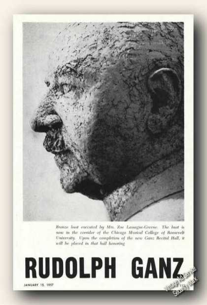 Rudolph Ganz Bronze Bust Photo Music (1957)